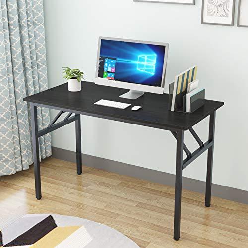 DlandHome Tavolo pieghevole 120 x 60 cm, senza bisogno di installazione, tavola in legno composito, scrivania per computer e postazione di lavoro, nero e nero