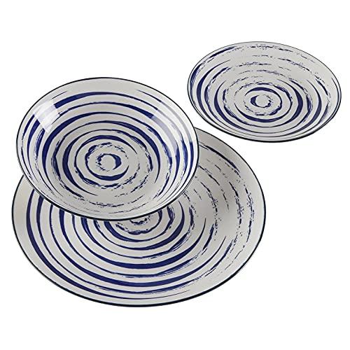 Versa, vajilla 18 piezas espiral azul, linea servicio de mesa, vajillas