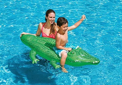 Intex 58546NP, Aufblasbares Reittier - Schwimmtier - Badetier 'Kleines Krokodil' in ca. 168 x 86 cm mit robustem Haltegriff