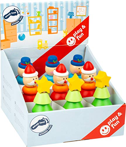Small Foot 11466 Display Stapelfiguren Weihnachten aus Holz, Set mit 9 Figuren, Höhe jeweils 12,5cm Spielzeug, Mehrfarbig