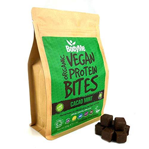 BodyMe Morsi Spuntini Proteici Vegane Biologiche | Crudo Cacao Menta | 500g | 100 Morsi | Con 3 Proteines Vegetali