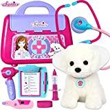 Sophia's Child Sized Toy Dog Doctor Medical Doll Pet Vet Set Has 13 Pieces | Veterinarian Set, Doll Sized Plush Puppy, Cones, Bandage, Stethoscope, Syringe, Thermometer & More for American 18' Dolls