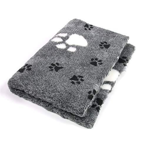 ProFleece Premium Hundedecke Haustiermatte 3-farbig grau mit Pfotenabdruck | Rutschfest | Antibakteriell | Antiallergen | Atmungsaktiv | Isolierend | Waschbar (S = 75 x 50 cm)