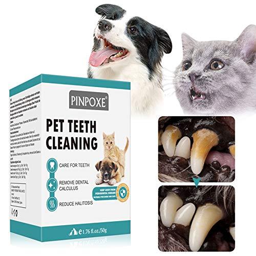 PINPOXE Polvo para Eliminación de Sarro para Perros, removedor de sarro, Polvos Cuidado Dental para Perros y Gatos, Limpia y Cuida Dientes Blancos y Encías, Cuida Dientes Refresca el Aliento