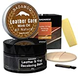 NADAMOO Black Leather Recoloring Balm with Mink Oil Leather Conditioner, Leather Repair Kits for Couches, Restoration Cream Leather Scratch Repair Leather Dye For Vinyl Furniture Car Seat, Sofa, Shoes