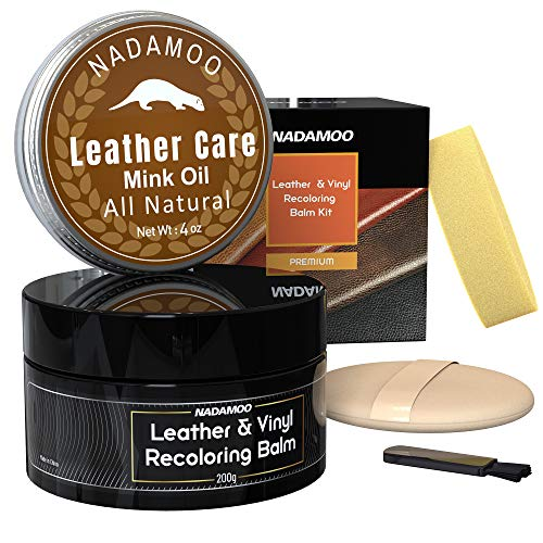NADAMOO Black Leather Recoloring Balm with Mink Oil Leather Conditioner, Leather Repair Kits for...