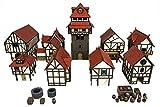 War World Gaming Medieval Town - Ciudad Completa (Pintada/Sin Pintar) – 28mm Wargaming Maquetas Dioramas