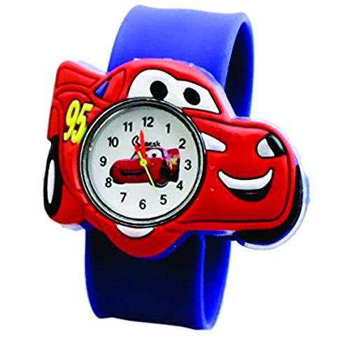 Cars Fashion Uhren Kinder Armbanduhr Jungen-Armbanduhr Casual Quarz Slap Armband, Jungen, blau