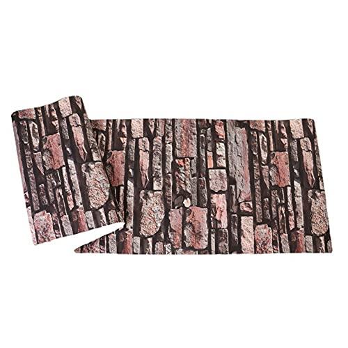 XYSQ Papel Pintado PVC 3D Piedra para Hogar Decorativo Revestimiento De Paredes Rollo Estante Cajón Revestimiento Barra De Cocina (Color : Lead Red, Size : 53cmX10m)