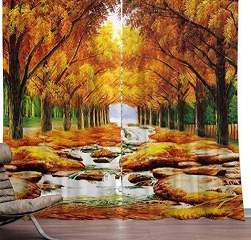 LYzpf Vorhang Verdunkelungsvorhang Moderne Fallen Wald 3D Landschaft Kinder Mode Hübsches Zimmer Verdunkelung Vorhänge für Home Decoration Living,W150xL180cm