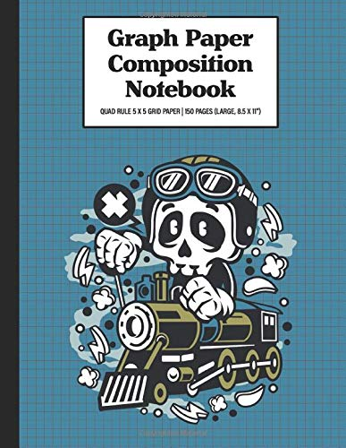 Graph Paper Composition Notebook Quad Rule 5x5 Grid Paper   150 Sheets (Large, 8.5 x 11