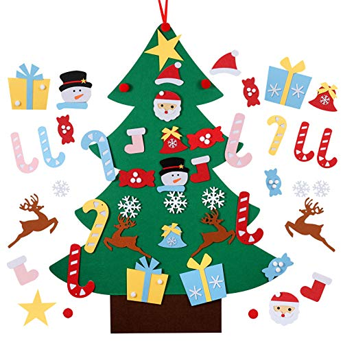 Kids DIY Felt Christmas Tree Set, Detachable Wall Hanging Ornaments, Xmas Decoration Gift 26pcs Children Friendly Christmas Home Decor 3.12FT
