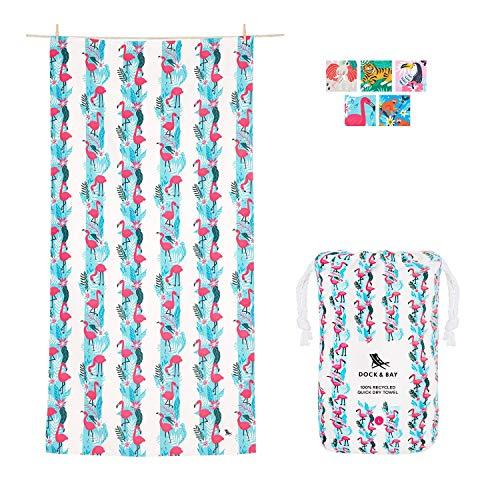 Dock & Bay Toalla Jungle Flamingos, Unisex Adulto, Azul, XL