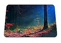 26cmx21cm マウスパッド (秋の明るい木の木の地球の梁を残します) パターンカスタムの マウスパッド