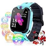 Relojes inteligentes para niños - Música Reloj inteligente Teléfono para niño Niña Relojes inteligentes Pantalla táctil HD Deportes Relojes inteligentes para niños con llamada Cámara (X9-azul)