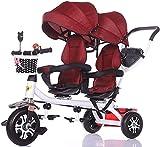 Cochecitos para bebés Cochecito de bebé, Coche para bebé, Carro de viaje Doble triciclo para niños Twin Baby Trolley Big Stroller Extended Twing Threadchairs para bebés