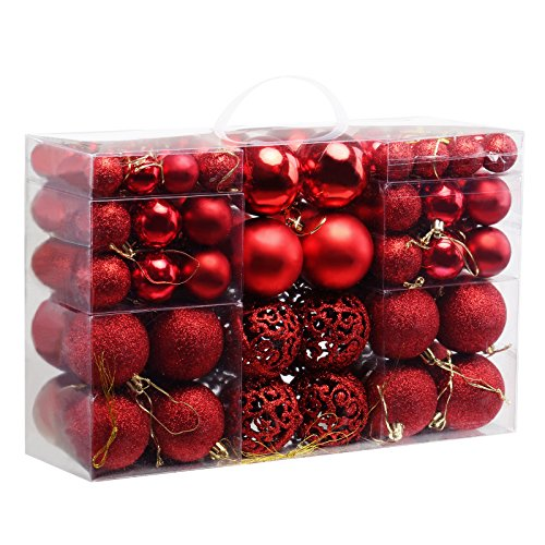Naler Assorted Christmas Balls Shatterproof Christmas Ornaments Set Decorative Baubles Pendants with Reusable Hand-held Gift Package for Holiday Xmas Garden Decorations, 100-Pack (Red)