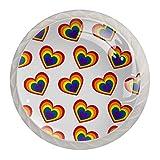 Kinder Möbelknopf Buntes Herz Schubladengriff Kristall Knopf Niedlich Möbelgriff Drucken Griffe für Kinderzimmer Babyzimmer 4 Stück 3.5×2.8CM