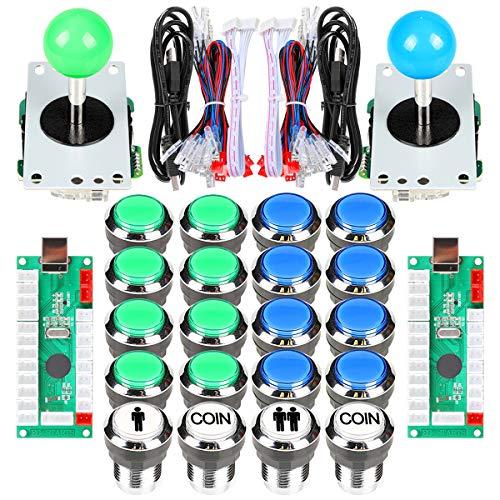 Fosiya 2 Spieler Arcade Joystick LED-Chrom-Drucktasten für PC MAME Raspberry Pi Video-Spiele Arcade Cabinet Parts (Blau & Grün)