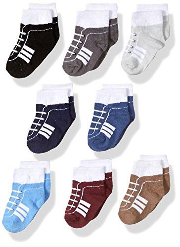 Hudson Baby Unisex Cotton Rich Newborn and Terry Socks, Sneaker Navy Gray, 6-12 Months US