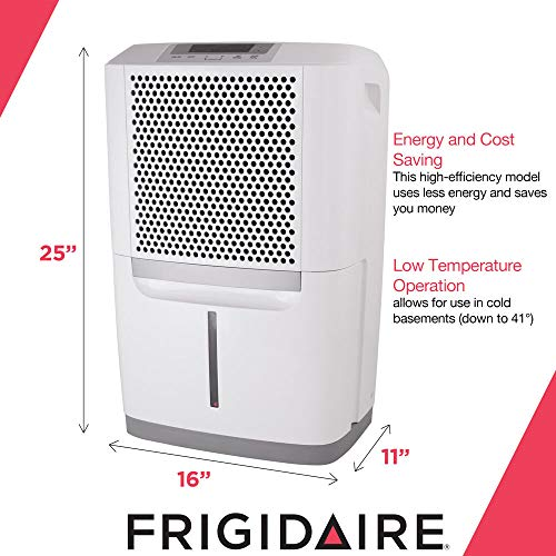 Frigidaire 50-Pint FAD504DWD High Efficiency Dehumidifier for Large Rooms/Basements with Continuous Drain & Auto Shut Off – Quiet Moisture Removal to Prevent Mildew, Allergens and Mold
