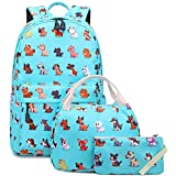 Ecodudo Lightweight Kids Puppy Dog Puppy Print Backpack Girls School Backpacks Boys Bookbags with Lunch Bag