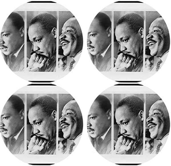 Martin Luther King Rubber Round Coaster Set 4 Pack Great Gift Idea