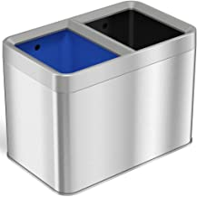 iTouchless 5.3 Gallon Open Top Trash Can & Recycle Bin Dual Compartment Combo Includes Decals, 20 Liter, Stainless Steel, ...