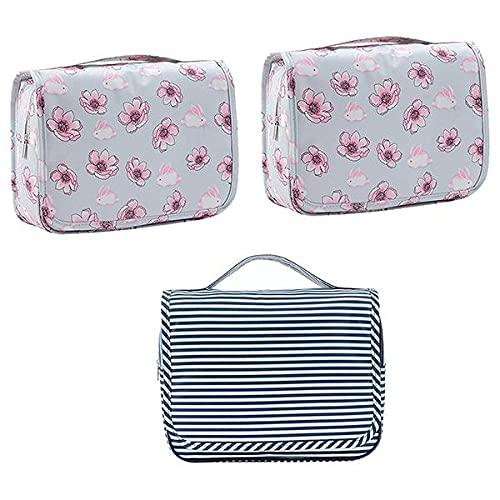 Parshall Bolsa organizadora de artículos de aseo coreanos impermeable para colgar cosméticos portátil plegable bolsa de almacenamiento para natación gimnasio, 3 unidades, Gris*2+azul marino,