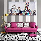 ganlanshu Pittura Senza Cornice Astratta Zebra colorata Pop Art Senza Cornice Tela HD animale Cavallo Tela decorazione poster60X120cm
