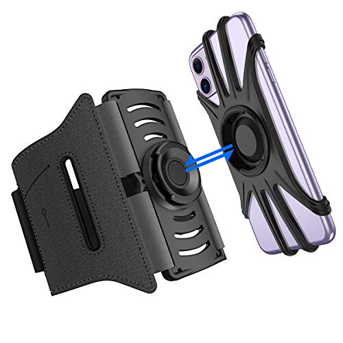 """Running Phone Holder VUP IPhone Armband Detachable 360 Rotatable Arm Bands for Cell Phone Fit Any 4-6.5"""" Phones iPhone Xs Max XR X 8 7 6 6S Plus Samsung Galaxy S9+ S9 S8 S7 S6 Edge Note 8 Google Pixel"""
