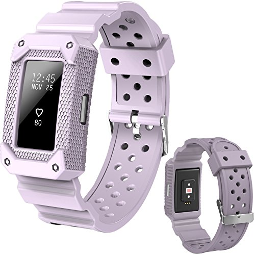 Lwsengme X4-TECH Replacement Wrist Band Compatible with Fitbit Charge 2 HR(New-Lavender)