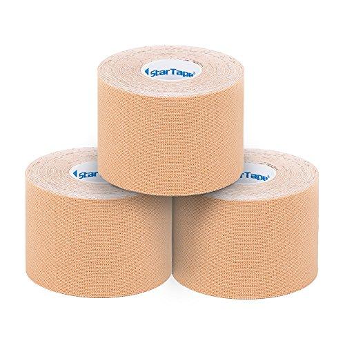 SL StarTape Kinesiologie Verband - Tape Pflaster 5 cm breit und 550 cm lang - Premium Sporttape Rolle - Sport Bandage (Beige, 3er Set)