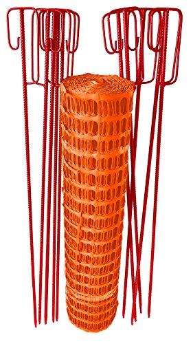 UvV-Reflex Set 50m Fangzaun orange, 10 Absperrleinenhalter rot, Absperrnetz, Maschenzaun, Bauzaun Rolle Kunststoff besonders Reissfest, 150 gr (7,5 kg)(Orange)