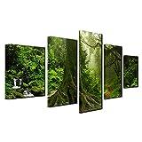 YANGMAN Home Decor Leinwand Art Print 5 Stücke Spring Forest Nature Green Big Tree Wall Art Foto auf Leinwand Kunstwerk für die Wanddekoration gedruckt,A,40x60*2+40x80*2+40x100*1