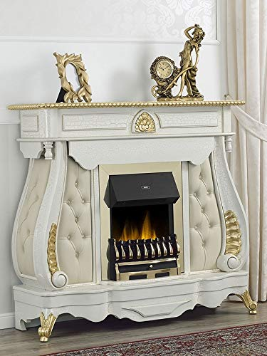 SIMONE GUARRACINO LUXURY DESIGN Dekokamin Billionaire Venezianischer Barock Stil elektronischer Kamin Crackle und Blattgold Marmor Creme Kunstleder Champagner Crystal Sw Knöpfe
