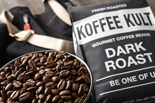 Koffee Kult Coffee Beans Dark Roasted - Highest Quality Delicious Organically Sourced Fair Trade - Whole Bean Coffee - Fresh Gourmet Aromatic Artisan Blend (32oz)