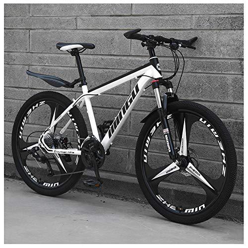 NENGGE 26 Zoll Mountainbike, Scheibenbremsen Hardtail MTB, Trekkingrad Herren Bike Mädchen-Fahrrad, Vollfederung Mountain Bike,21 Speed,White 3 Spoke
