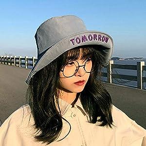 Sombrero de pescador rojo neto versión coreana femenina marea japonesa salvaje ins letras viajes callejeros a lo largo de la sombra del sol sombrero de lavabo-Talla única (56-58cm)_100 # gris ahumado