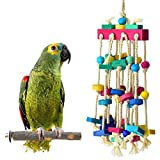 ERKOON Bird Chewing Toy with Bird Perch Nature Wood Stand, Parrot Cage Bite Toys Multicolored Wooden Blocks Bird Parrot Toys for Small and Medium Parrots and Birds