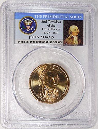 2007 D Pos. A John Adams Presidential Dollar PCGS MS 66 FDI Presidential Label Holder