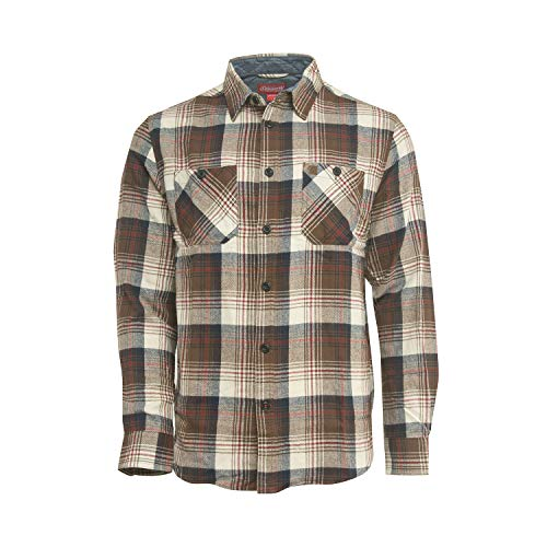 Coleman Comfy Flannel Shirts for Men Comfy and Stylish (Medium, Brown Ivory)