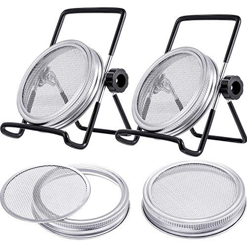 Drip Tray and Stand 2 Wide Mouth Quart Jars with 316 Stainless Steel Sprouting Lids Complete Mason Jar Sprouting Kit
