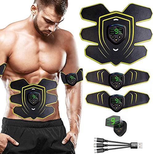 EMS Electroestimulador Muscular Abdominales, USB Recargable EMS Estimulador Muscular Abdominales para Abdomen/Cintura/Pierna/Brazo/Glúteos