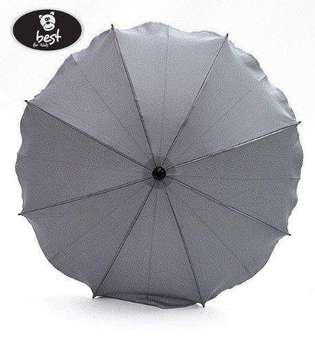 Best For Kids Universal Kinderwagenschirm NEUSTE TECHNIK Höchster UV Schutz Standard 801 - Sonnenschirm und Regenschirm für Kinderwagen, biegsam und einklappbar, 15 Farben zur Auswahl (Hellgrau)