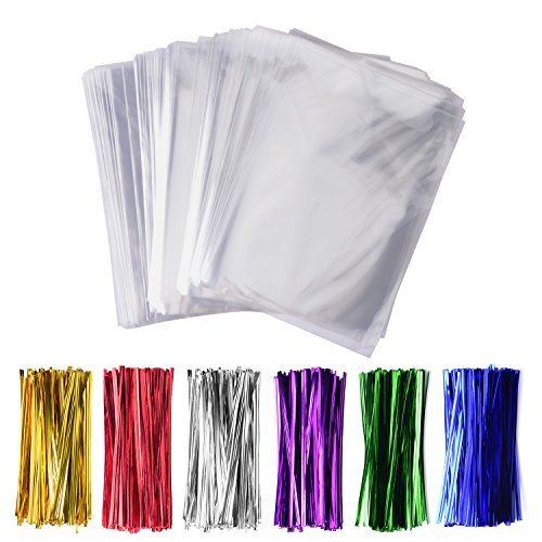 200 Pack 4' x 6' Clear Cello Treat Bags 1.4mil OPP Plastic Bags with 6 Mix Colors Twist Ties Good for Wedding Cookie Gift Candy Bakery Supply Valentine Chocolates (4'' x 6'')