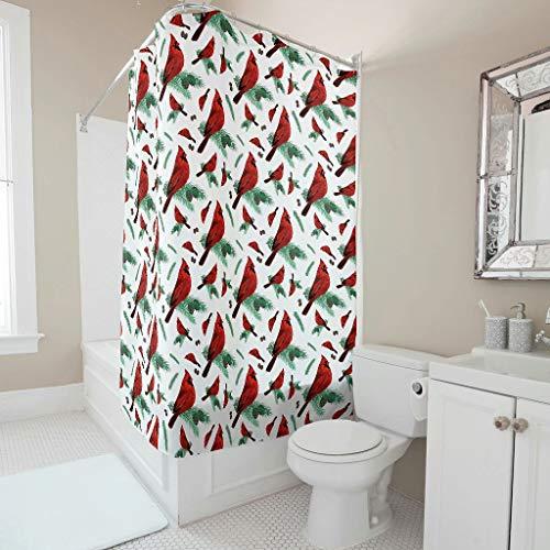 XHJQ88 Red Sparrow Graphic Design douchegordijn, niet-giftig badbadgordijn met haken - rode vogel voor slaapkamerdecoratie