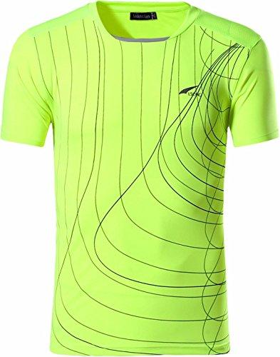 jeansian Herren Sportswear Quick Dry Short Sleeve T-Shirt LSL606_GreenYellow_L