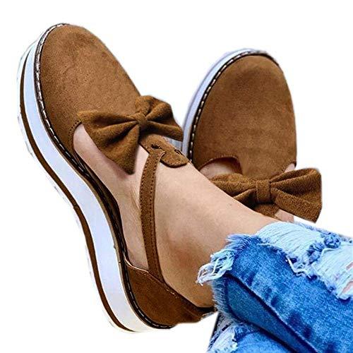 Aniywn Espadrille Platform Sandals, Women's Ankle Straps Wedges Sandals Casual Summer Closed Toe Sandals Brown