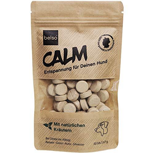 belso Calm Beruhigungstabletten für Hunde bei Angst Stress Autofahren Gewitter Silvester Reisen - leckeres Ergänzungsmittel natürlich mit Baldrian Johanniskraut Passionsblume